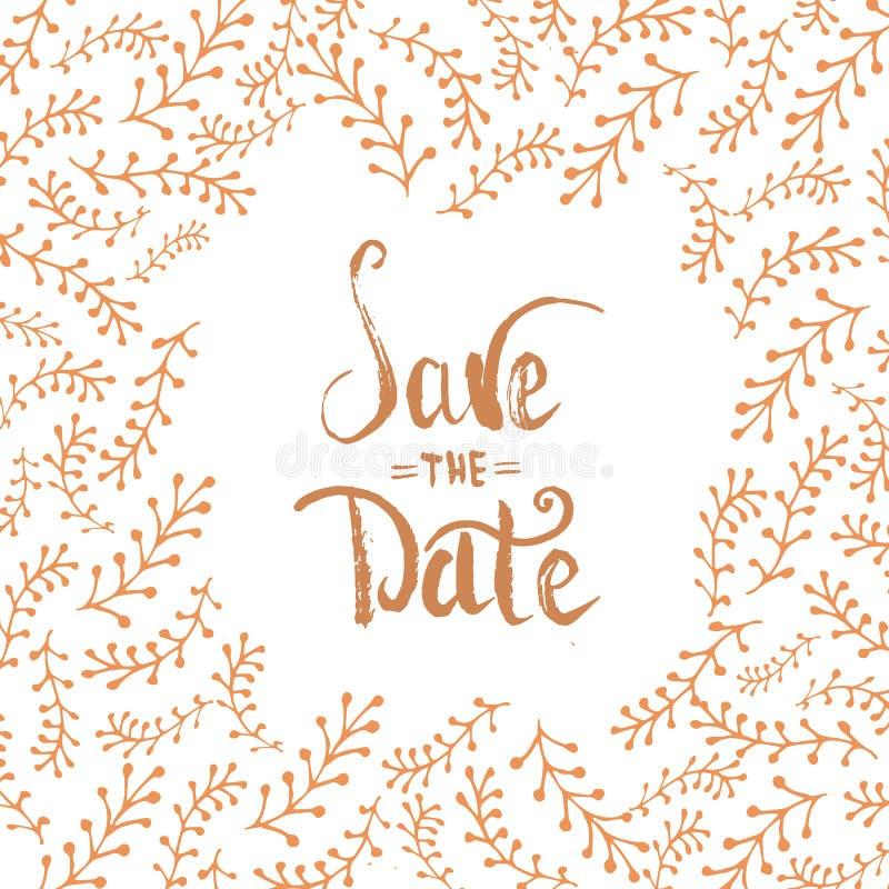 De oro modernos limpian reserva las letras de fecha, tarjeta de la invitación de la boda con el fondo floral de la plantilla de l stock de ilustración