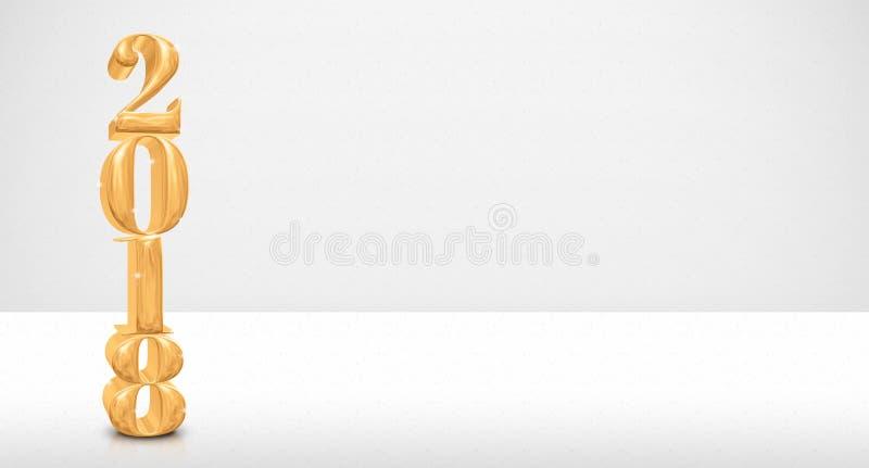 2018 de oro numeran la representación 3d en la tabla blanca y la pared blanca, fotos de archivo libres de regalías