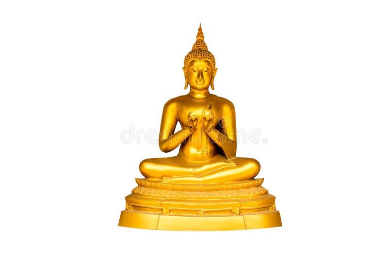 De oro roscando una aguja Buda en el fondo blanco fotos de archivo libres de regalías