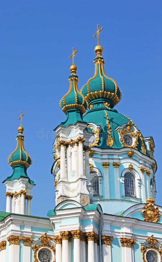 De orthodoxe kerk van heilige Andrew door Rastrelli in Kyiv royalty-vrije stock foto