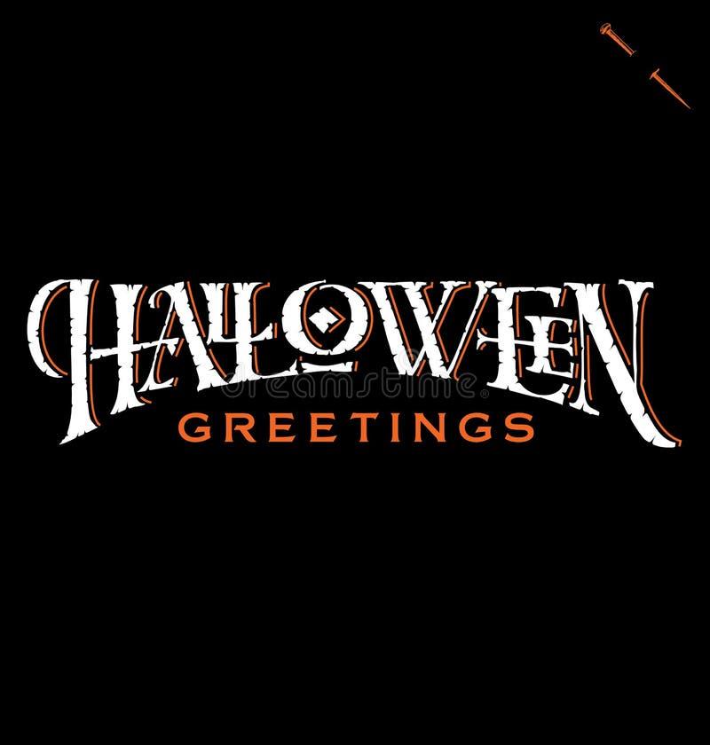 De ?os cumprimentos Halloween? entregam a rotulação (o vetor) ilustração do vetor