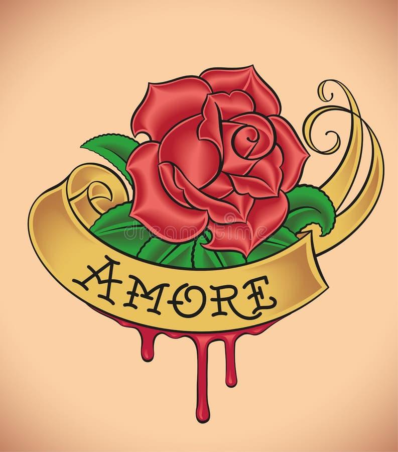 De oud-school nam - Amore toe royalty-vrije illustratie