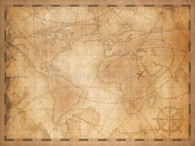 De oude achtergrond van de wereldkaart stock illustratie