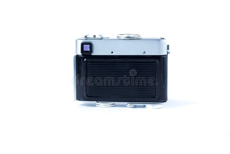 De oude achterkant van de filmcamera Wit Close-up als achtergrond Uitstekende Foto royalty-vrije stock fotografie