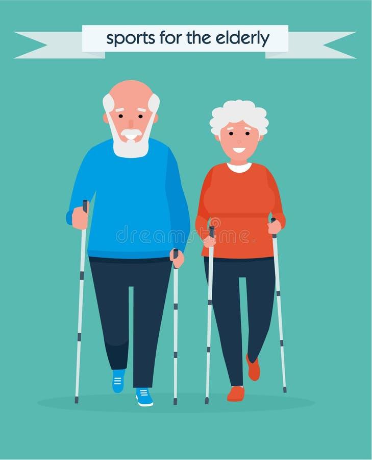 De oude activiteiten van de mensensport Gelukkig Hoger Paar die het noordse lopen in het Park maken Vector illustratie Gezond royalty-vrije illustratie