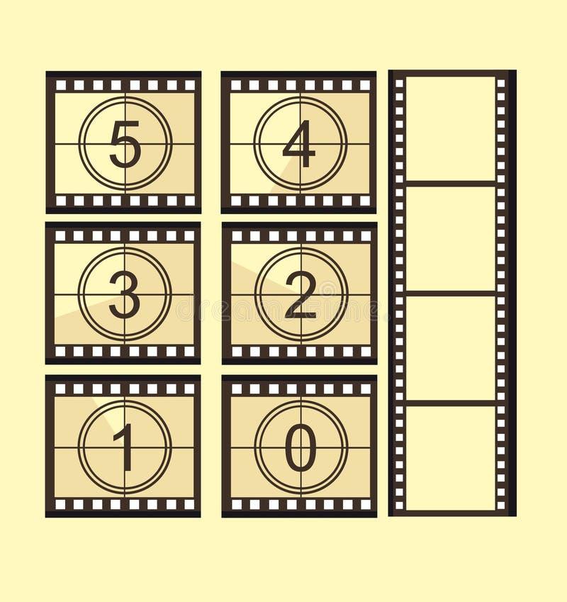 De oude aftelprocedure van de filmstrook stock illustratie