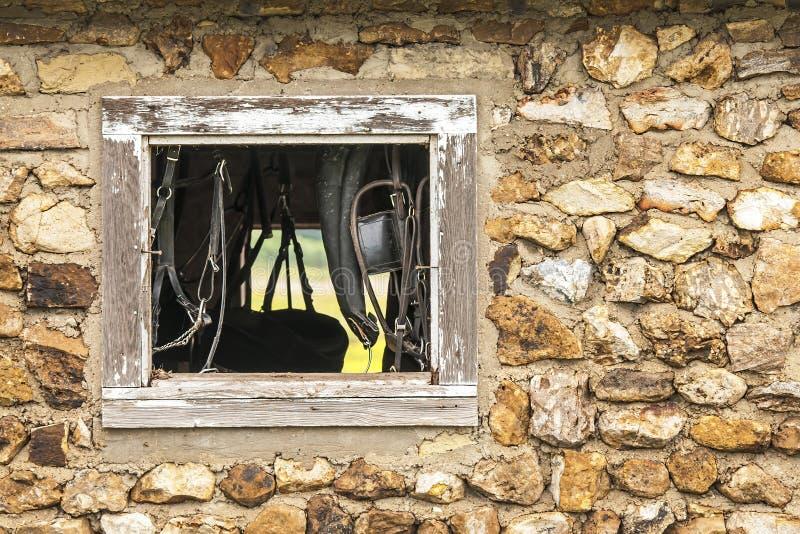 De oude Amish-steenbouw royalty-vrije stock afbeelding