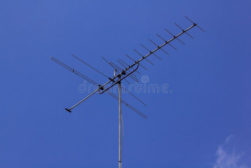 De oude antenne van stijltv die thuis wordt gevestigd royalty-vrije stock afbeelding