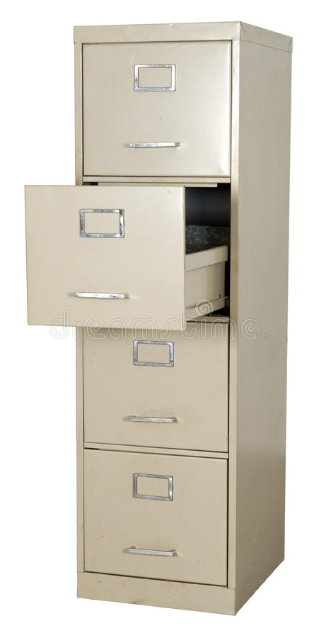 De oude Archiefkast van het Bureau van het Metaal die op Wit wordt geïsoleerdh