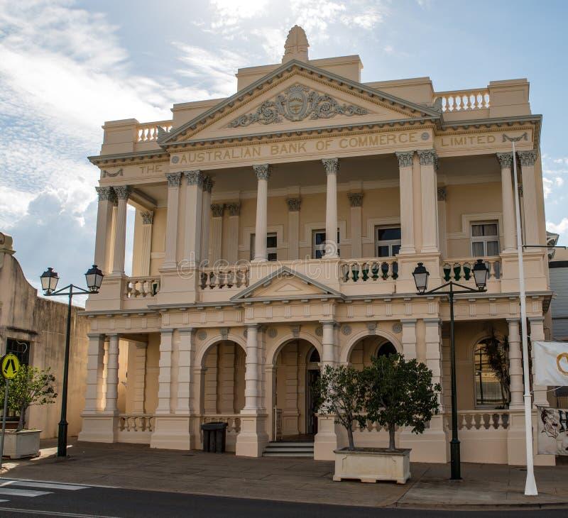 De oude bankbouw, Handvestentorens, Queensland stock foto