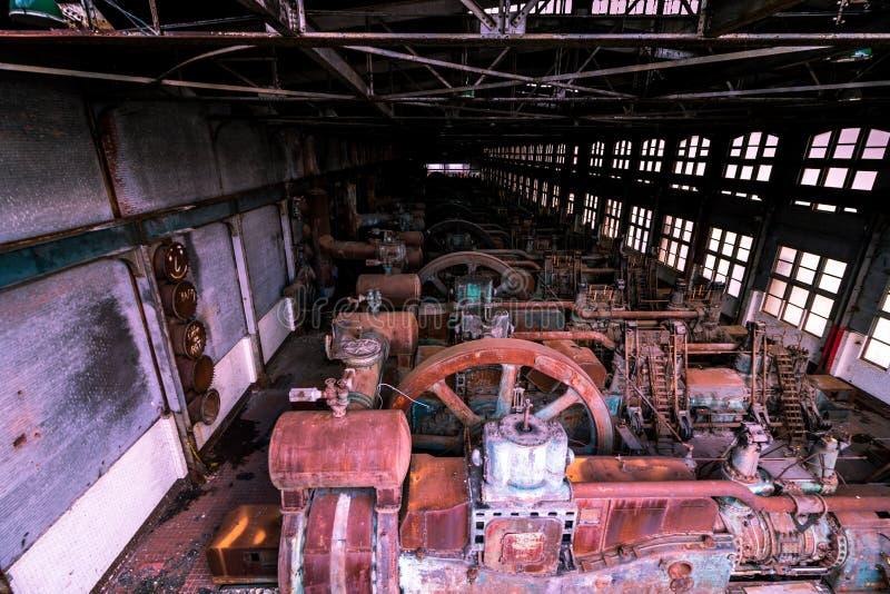 De oude Bethlehem de motorruimte van de Staalfabriek, die sinds 1998 sloot is een stuk van industriële geschiedenis stock foto's