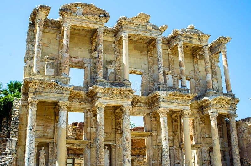 De oude bibliotheek van Celsus in Ephesus, Turkije stock foto