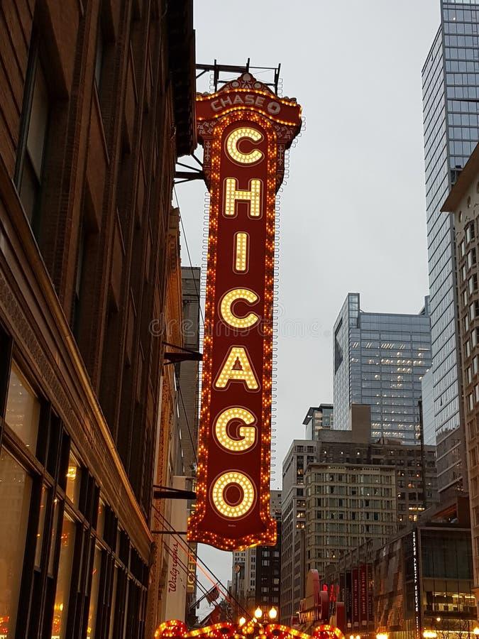 De oude bioskoop van Chicago teatre binnen de stad in royalty-vrije stock foto
