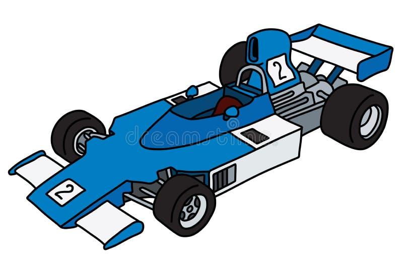 De oude blauwe auto van Formule 1 royalty-vrije illustratie