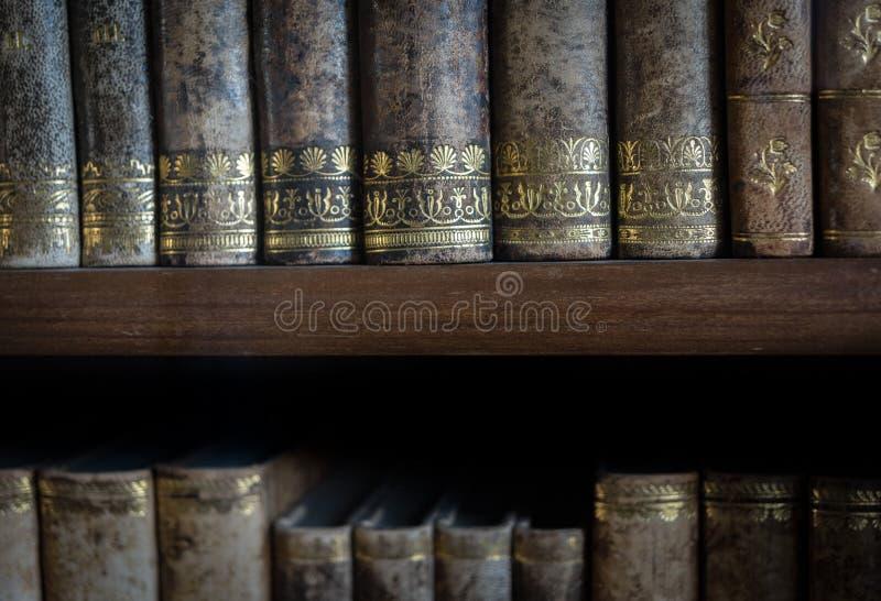 De oude boeken van een oude bibliotheek stock fotografie