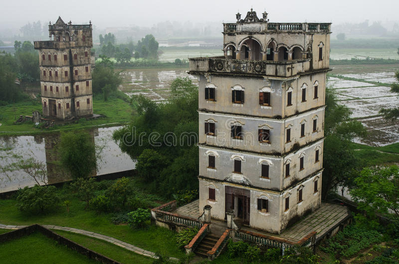 De oude bouw in Kaiping stock foto