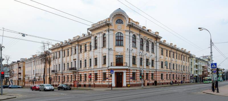 De oude bouw op Sovetskaya-Straat, Gomel (vroegere Orlovsky Commer royalty-vrije stock foto's