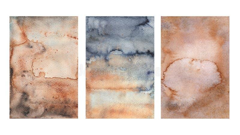 De oude bruine rustieke waterverftextuur, stilized waterverfroest, vorm of vuile oppervlakte stock illustratie