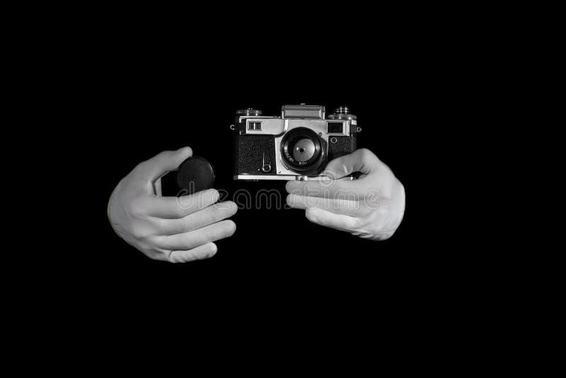 De oude camera van de afstandsmeter uitstekende en retro foto met kleureneffect stock afbeeldingen