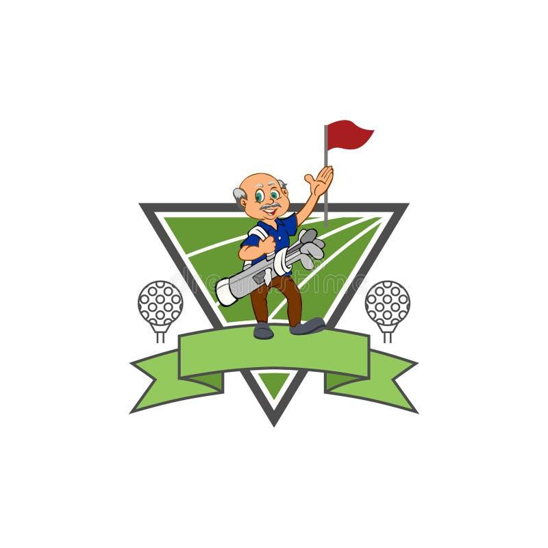 De oude Club van de Mensengolfspeler - Golfembleem - Driehoek vector illustratie