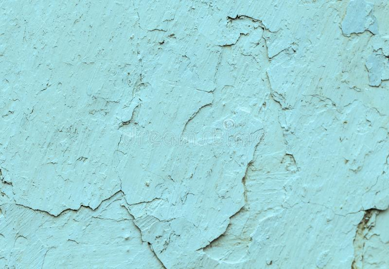 De oude concrete blauwe muren met barstenachtergrond schilderen, werkstuk voor ontwerp, exemplaarspase stock afbeelding