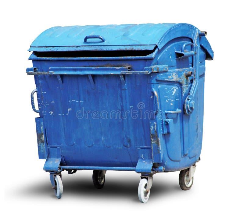 De oude container van het metaalhuisvuil stock foto