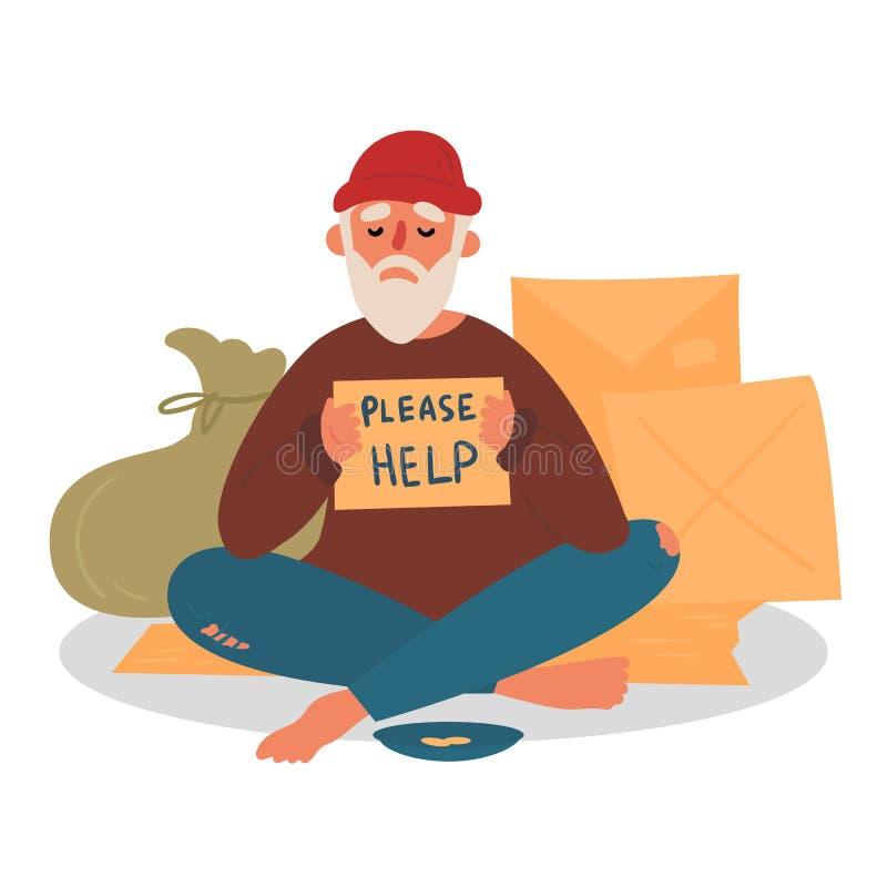 De oude dakloze bedelaar vraagt om hulp in de stad stock illustratie