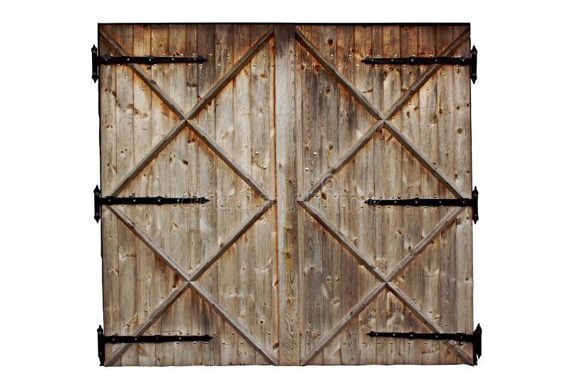 De oude deur van het schuur houten die land op wit wordt geïsoleerd royalty-vrije stock fotografie