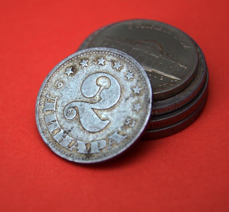 De oude dinar van Joegoslavië stock foto's