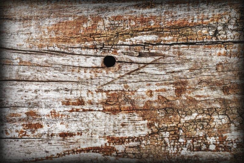 De oude Doorstane Geknoopte Houten Ruwe Geslagen Gegroefte Textuur van Vignetted Grunge royalty-vrije stock foto