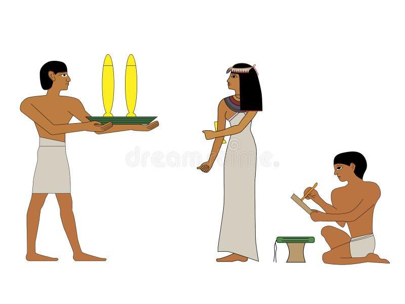 De oude edelvrouw van Egypte en bediende met dranken, groep mensen De muurschilderingen van Egypte, de Oude mensen van Egypte, me stock illustratie