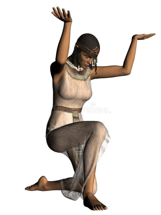 De oude Egyptische stokvoering van het slavenmeisje stock illustratie