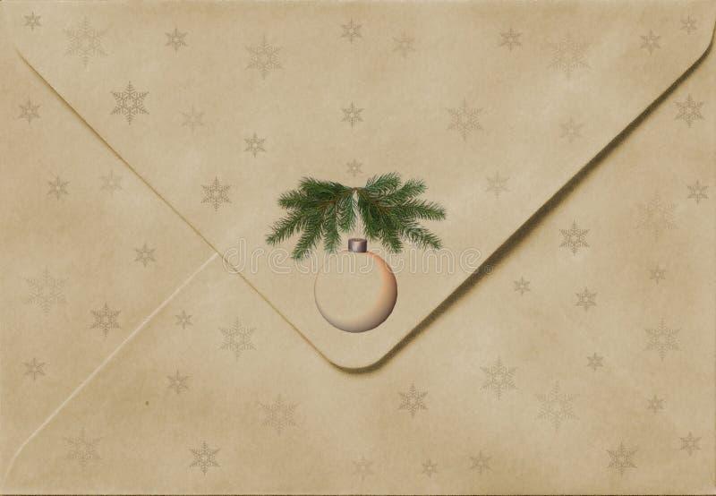 De oude envelop van Kerstmis stock fotografie