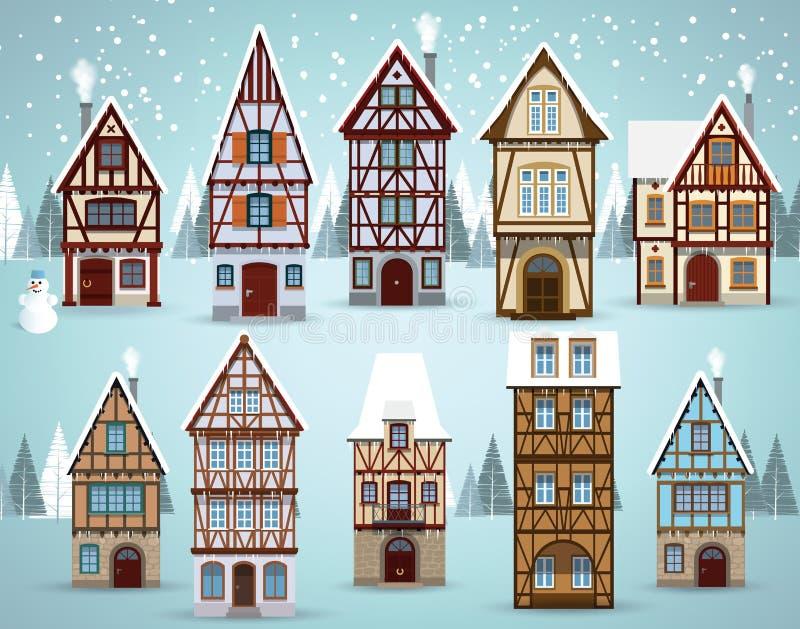 De oude Europese huizenwinter stock foto's