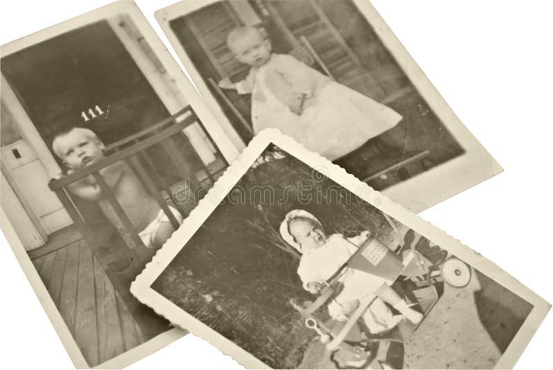 De oude Foto's van de Baby stock fotografie