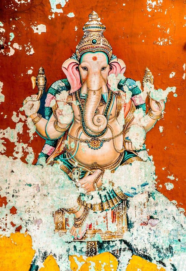 De oude fresko van Ganesh stock foto