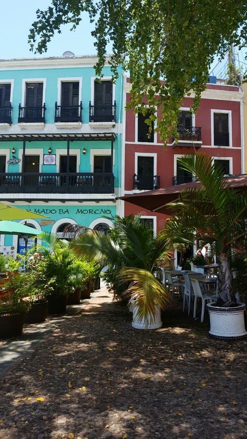 De oude gebouwen van San Juan stock afbeeldingen