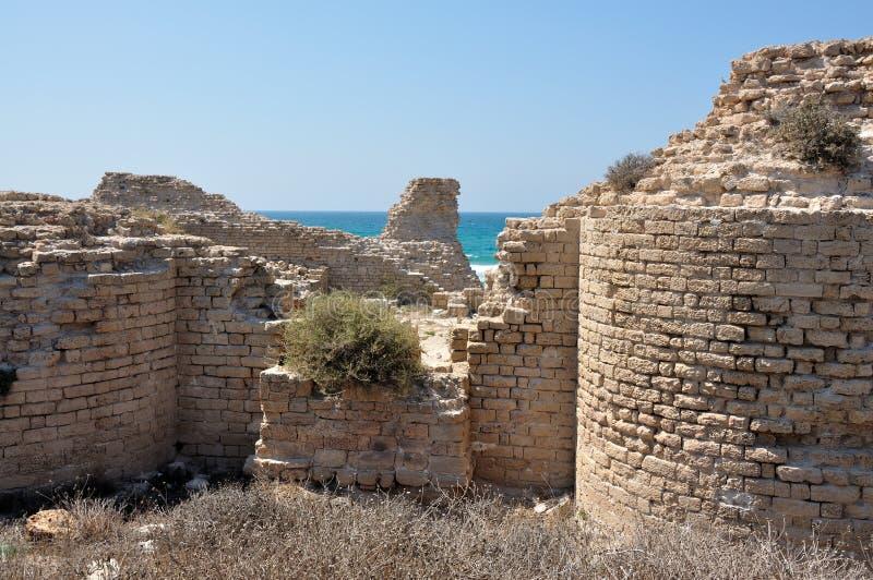 De oude Geruïneerde Vesting van Kruisvaarders dichtbij Ashdod stock foto's
