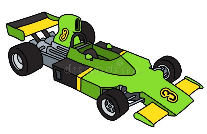 De oude groene auto van Formule 1 vector illustratie