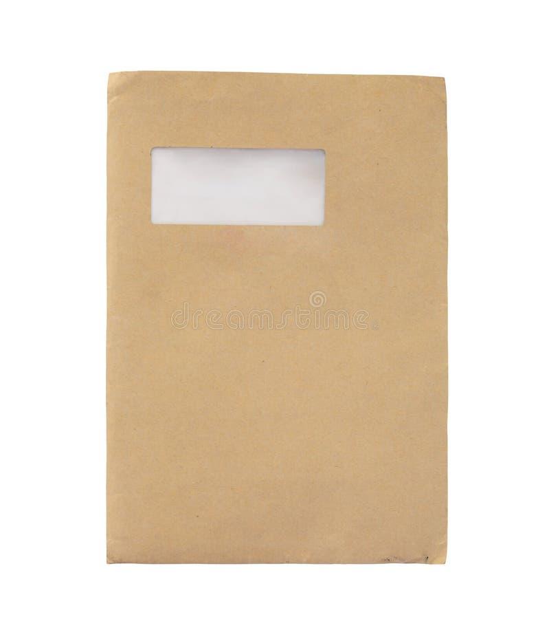 De oude Grote die Envelop van Manilla op wit wordt geïsoleerd stock afbeelding