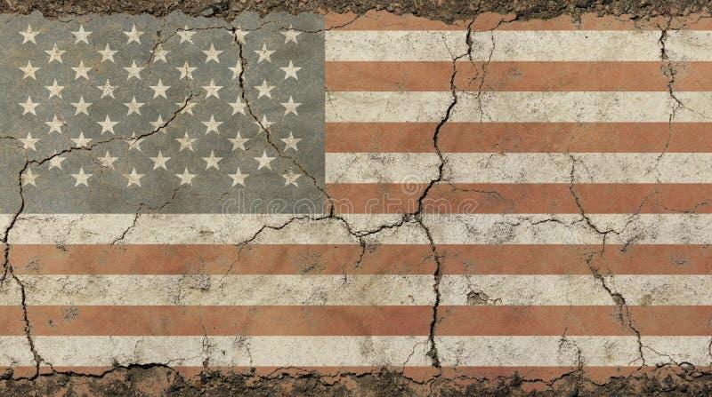 De oude grungewijnoogst verdween de Amerikaanse vlag van de V.S. langzaam stock fotografie