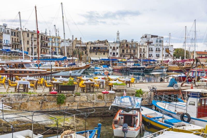 De oude haven van Kyreniagirne, Noordelijk Cyprus royalty-vrije stock fotografie