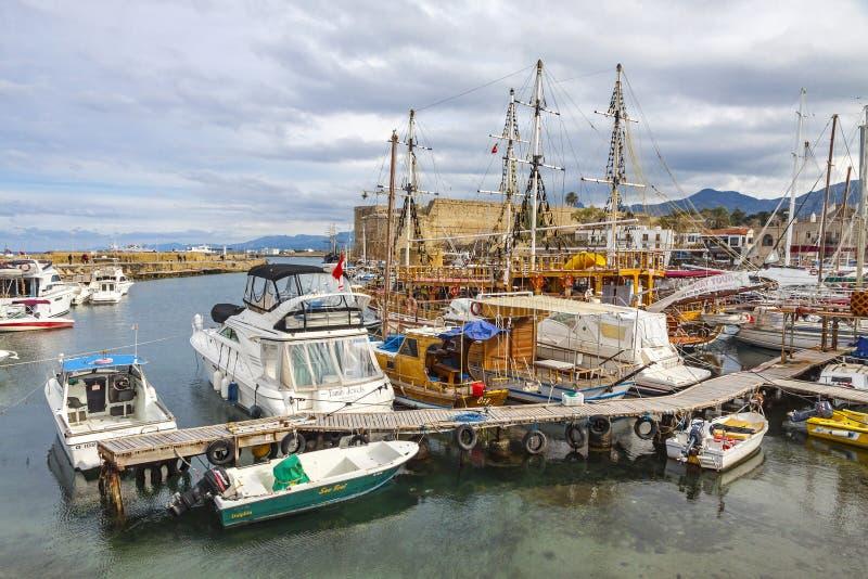 De oude haven van Kyreniagirne, Noordelijk Cyprus royalty-vrije stock afbeeldingen