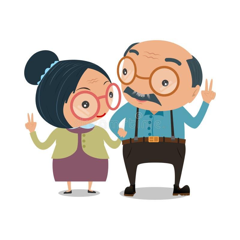De oude hogere die man en de vrouw zijn droevig op witte achtergrond wordt geïsoleerd V vector illustratie