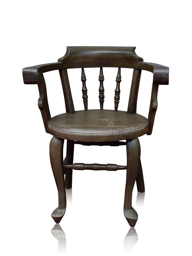 De oude houten barstoel isoleerde met de hand - gemaakt over het witte knippen p royalty-vrije stock foto