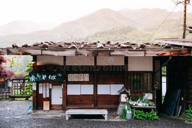 De oude houten Edo-winkel van huissaba van de Poststad narai-Juku o van Narai royalty-vrije stock foto