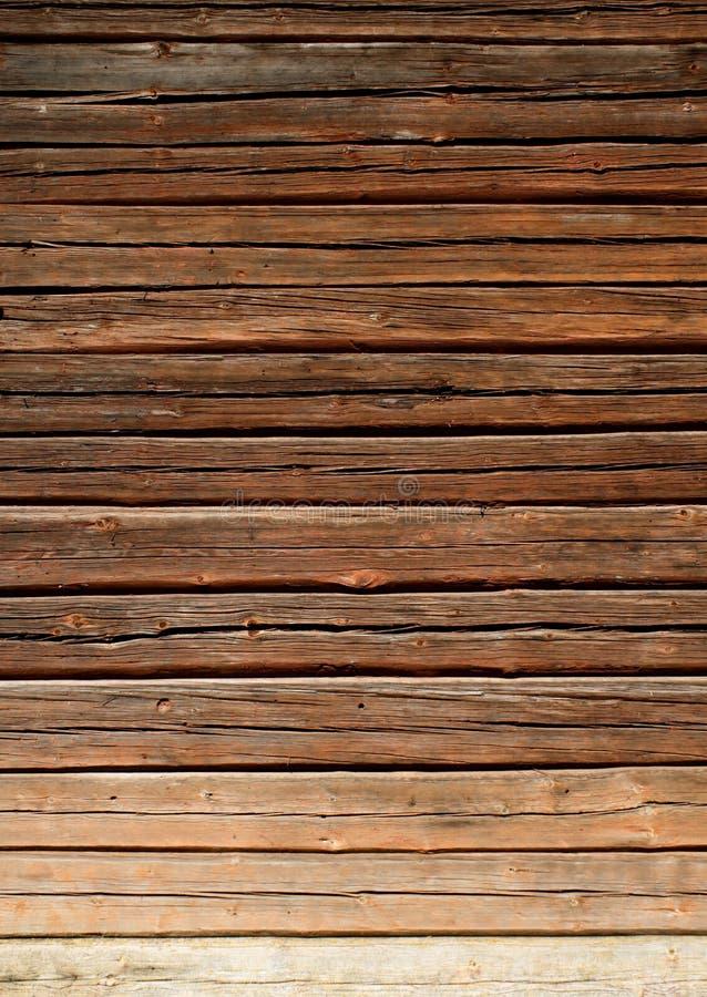 De oude houten muur van het logboekhuis royalty-vrije stock foto's