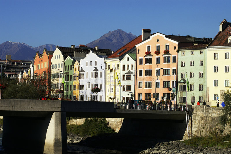 De Oude huizen van Innsbruck stock foto
