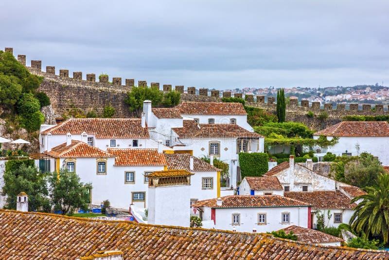 De oude huizen van stadsobidos, Portugal stock foto's