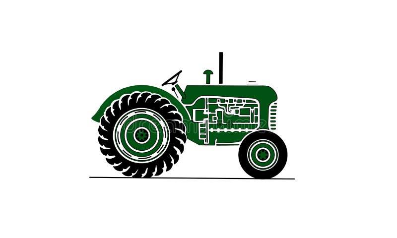 De oude illustratie van de landbouwbedrijftractor in groen stock afbeeldingen